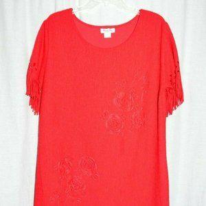 MaxiMa Red Floral Vintage Drop Waist Dress Large